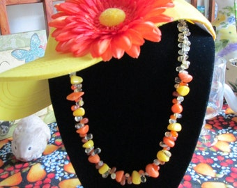 Chunky Orange Turquoise Gemstone Necklace - Citrine and Tangerine Glass Teardrop Beads - Younger Than Spring Time Diva Necklace - Ooak