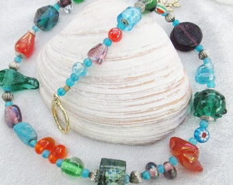 Bead Soup Diva Necklace - Colorful Czech Glass Beads - Funky and Fun - Great Casual Piece
