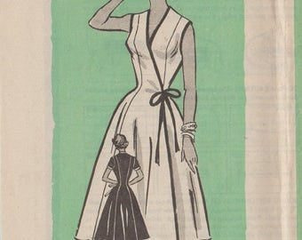 Vintage 1950s Mail Order Sewing Pattern / Marian Martin 9019 / Wrap Dress / Size 16 Bust 34