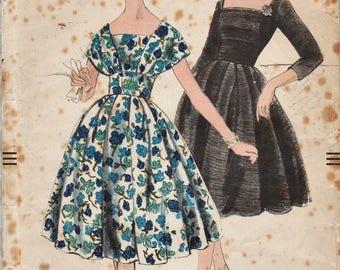 Vogue 9791 / Vintage 50s Sewing Pattern / Dress / Size 16 Bust 36