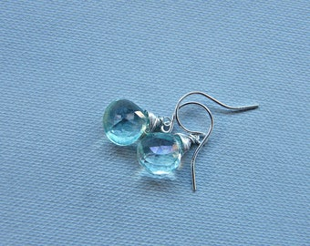 Mint earrings, aqua earrings, mystic aqua topaz earrings, dainty mystic topaz earrings, topaz silver earrings, petite silver dangle earrings