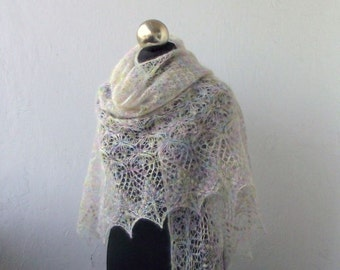 Light Pastel  hand knitted  mohair shawl with lace  pattern SPRING SALE 15% OFF