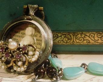 Dear Charlotte Frozen Charlotte Assemblage Pocket Watch Necklace