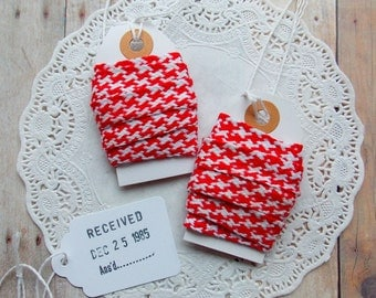 Red & White Herringbone Trim / December Daily / Christmas / Vintage Trim