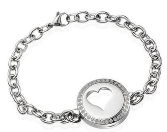 Essential Oil Stainless Steel Heart Locket Bracelet with CZ's