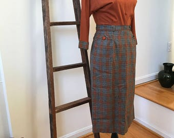 1950s RARE Sweater Skirt Set Copper Gray Windowpane Plaid Midcentury Mad Men Mode Perfect Fifties Costuming for Secretary Teacher Librarian