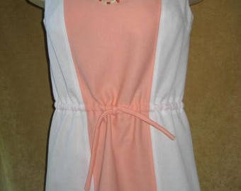 Mini Dress Polyester M White - Peach 60s Vintage
