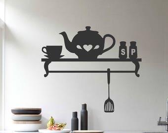 Decorative Faux Shelf Kitchen Decal, Vinyl Wall Lettering, Vinyl Decals, Wall Quotes, Vinyl Letters, Wall Words, Teapot Decal