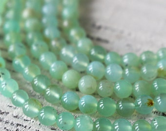4mm Round Chrysoprase Beads -  4mm Round Gemstone Beads - Jewelry Making Supplies - Choose Length