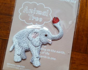 Elephant iron-on, Animal iron-on, Elephant iron on, Hamanaka, Animal Tree, Iron-on patch, Iron on patch, Iron on, Fabric Patch