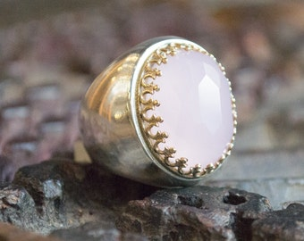 Rose quartz ring, Gemstone Ring, statement ring, cocktail ring , Pink ring, silver ring, gold ring, twotones ring - Too much in love R1113XH