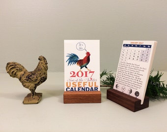 2017 desk calendar with wood holder. Year of the Rooster calendar, with trivia & world holidays. Gift for coworker, gift for teacher.