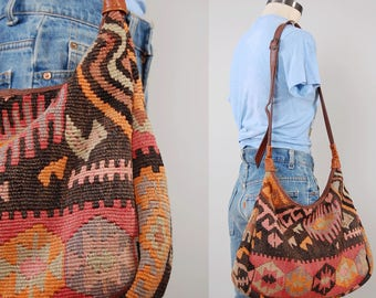 Reserved on Layaway Vintage HUGE woven KILIM purse / Wool kilim and leather bag / Made in Turkey