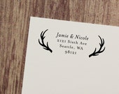 Return Address Stamp, Antler Stamp, Custom Stamp, Wood Mounted or Self-Inking Address Stamp, Personalized Stamp, Rustic Stamp - Style #59