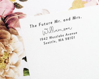 Future Mr and Mrs,Self Inking Address Stamp, Wedding Stamp, Save the Date Stamp, Return Address Stamp, Custom Stamp, Mr and Mrs - Style #83