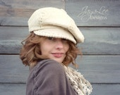 Slouchy Newsboy Hat Cap in Rustic Cotton