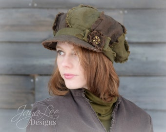 Earthy Newsboy Hat Shabby Green and Brown Linen Hat