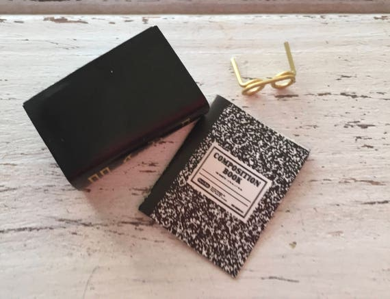 Miniature Eye Glasses and Book Set, Composition Book, Dollhouse Miniatures, 1:12 Scale, Mini Books, Mini Glasses, Dollhouse Accessories