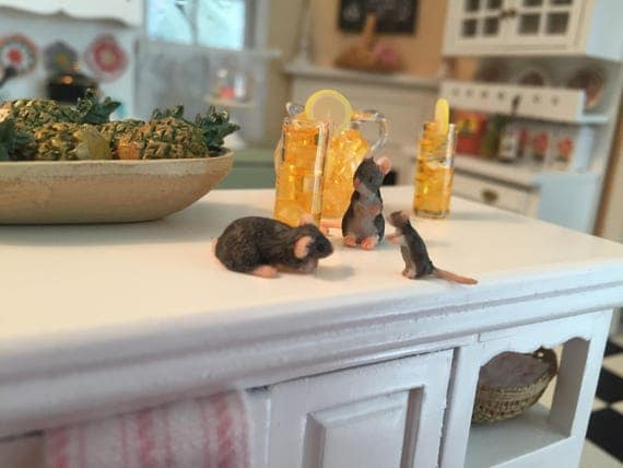Miniature Mice, Set of 3, Dollhouse Miniatures, 1:12 Scale, Miniature Mouse, Mice Figurines, Teeny Tiny Mice