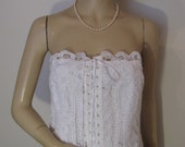 """Vintage White Lace Corset by Laundry Shelli Segal, NWT, Small - Medium, 35 - 36"""" Bust"""