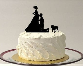 MADE In USA, Pregnant Wedding Cake Topper With Dog, Pregnancy Cake Topper Silhouette Wedding Cake Topper Pregnant Baby Shower staffordshire