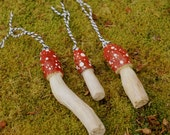 WoodlandWonderland - Set Of Three Hand Carved Wood Mushroom Ornaments