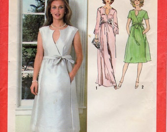 1970s Faux Wrap Dress with Tie Waist - Vintage Pattern Simplicity 9286 - Size 16 Bust 38