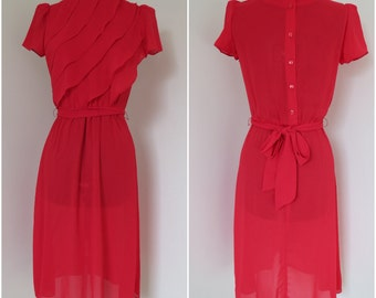 Early 1980s Red Sheer Dress with Ruffled Bodice- Womens Bust 34 - By The Limited
