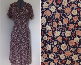 1990s Womens Ditzy Floral Midi Dress - Tiny Tan Floral on Black Button Front - Bust 36 by Express