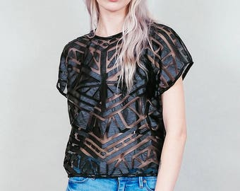 Cross My Heart - sheer mesh shirt with geometric faux leather panels - vegan top