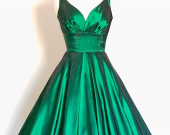 UK Size 18 Emerald Green Taffeta Sweetheart Tea Dress - Made by Dig For Victory