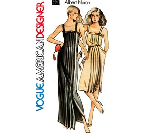 Vogue American Designer 2533 ALBERT NIPON Pleated Sundress Maxi Dress 70s Vintage Sewing Pattern Size 12 Bust 34 inches UNCUT Factory Folded