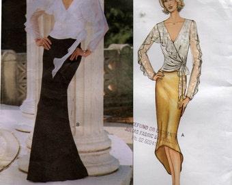 Vogue Designer Original 2711 BELVILLE SASSOON Flounced Wrap Top & Skirt Size 14 16 18 Bust 36 38 40 UNCUT Factory Folds