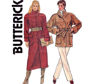 Butterick 6082 Womens 80s Long or Short Coat Vintage Sewing Pattern Size 6 8 10 Bust 30 1/2 31 1/2 32 1/2 inches