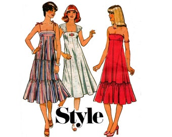 Style 1958 Cap Sleeved or Strapless Tent Dress 1970s Vintage Sewing Pattern Size 12 Bust 34 inches