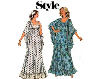 Style 4636 RARE Boho Womens Maxi Caftan 70s Vintage Sewing Pattern Size 12 Bust 34 inches Square Neckline Flounced Hem UNCUT Factory Folded