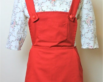 Vintage inspired red pinafore skirt