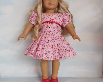 18 inch doll clothes- Valentine Dress handmade to fit the American Girl Doll - FREE SHIPPING