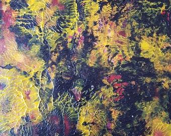 Golden Trees at Night Acrylic Abstarct Original Painting