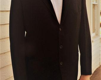 Vintage Mens Suit 50s 60s 2 piece Black Jacket Pants 40 Hyde Park Clothes