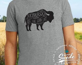 Nebraska T-shirt - Nebraska the Good Life Since 1867 Rustic Buffalo Bison t-shirt