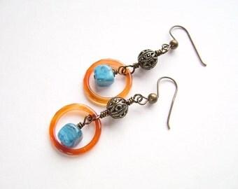 Blue Earrings, Wire Wrapped, Bronze Earrings, Agate Earrings, Geometric Earrings, Handmade Jewelry, Red Agate, Orange Earrings,  1010