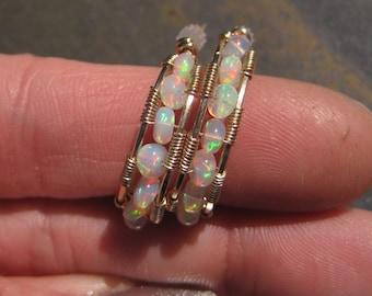14 kt Gold & Welo Ethiopian Opal J - Hoop Post Earrings