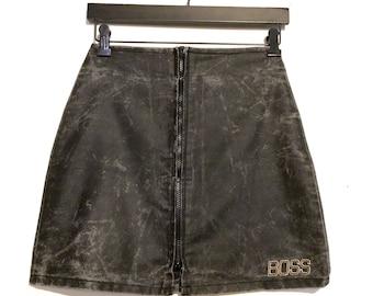Acid Wash Boss Zip Away Mini Skirt