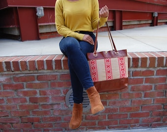 Red Woven Vintage Textile Cognac Leather Standard Travel Tote
