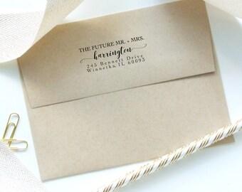 """Personalized Address Stamp I Future Mr & Mrs l Name + Return Address I Engagement Gift I Wedding Gift I 1""""Hx2.5""""W I Self Inking I  Style #01"""