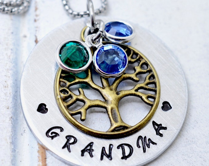 Grandma Necklace, Family Tree Necklace, Christmas Gift, Mommy Jewelry, Nana Necklace, Family Necklace, Birthstone Necklace, Gift for Granny