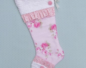 Pink Rose Christmas Stocking Vintage Chenille Shabby Chic Little Girl Stocking