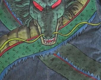 Dragon, custom clothes, custom denim, hand drawn clothes, hand painted clothes, hand painted denim, hand drawn denim, otaku, geeky, nerdy