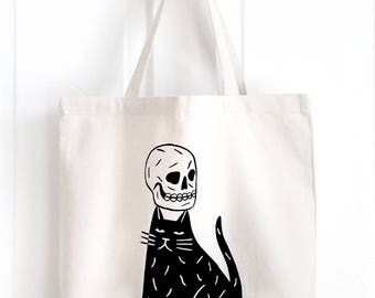 SKULL CAP  Screen Printed Canvas Tote Bag